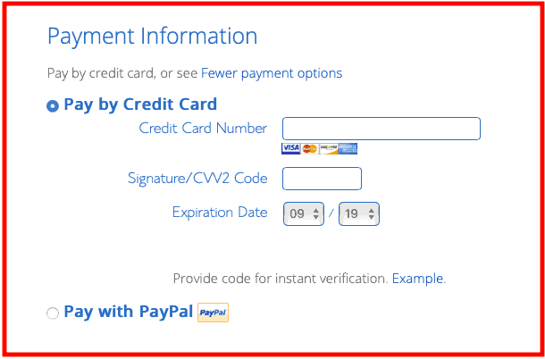 How to start a blog - Bluehost Payment Information