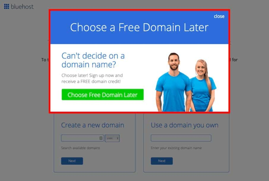 How to start a blog  -  Buy domain later Bluehost