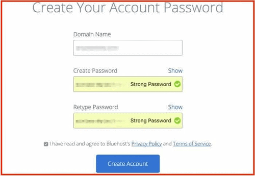 How to start a blog - Create your account password